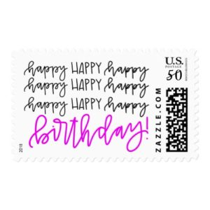 Happy Birthday Calligraphy Stamp