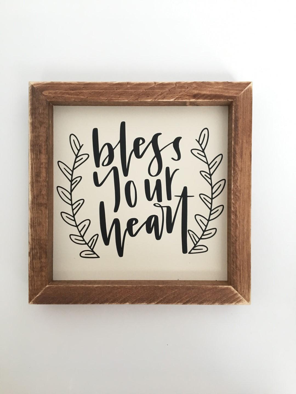 Bless Your Heart Framed Hand Lettered Wall Art
