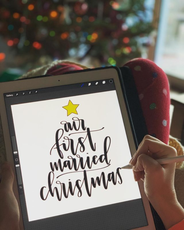 Our First Christmas Calligraphy in PJs