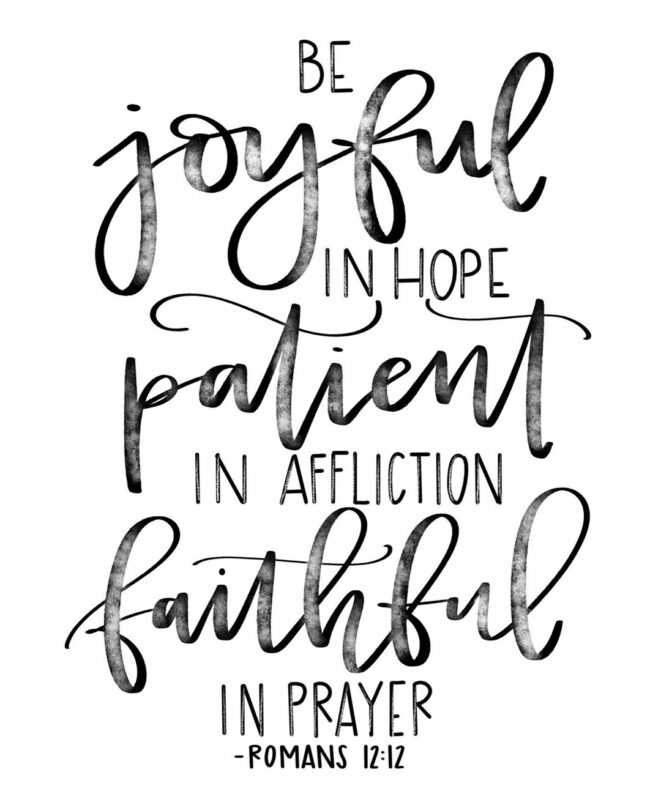 Be joyful in hope patient in affliction faithful in prayer